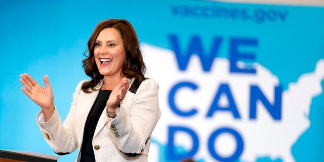 FILE - In this July 12, 2021, file photo Michigan Gov. Gretchen Whitmer speaks at a vaccine mobilization event in Detroit. Gov. (AP Photo/Andrew Harnik, File)