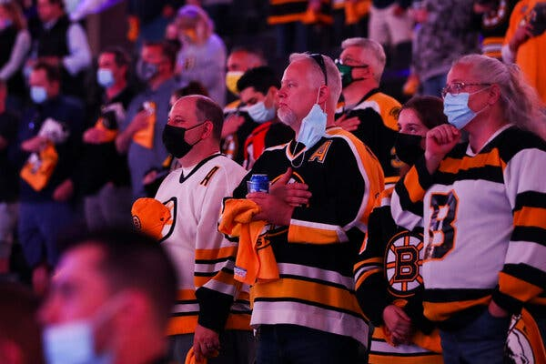 Fans stood for the national anthem before a Boston Bruins game at TD Garden in May.