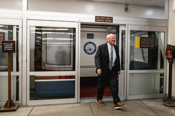 Senator Roger Wicker of Mississippi leaving the Senate subway at the Capitol this month.
