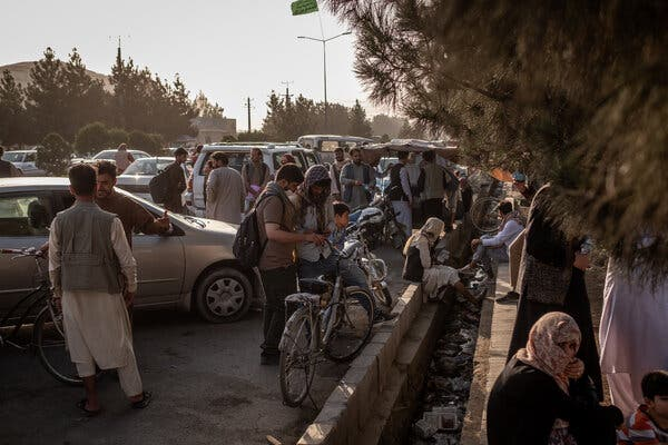 Outside Kabul's airport on Wednesday. ISIS-K, the Islamic State's affiliate in Afghanistan, has been identified as the biggest immediate threat to the Americans and the Taliban during the evacuation.
