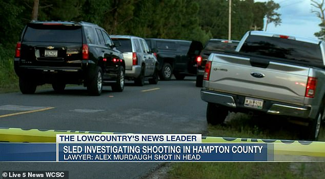 Murdaugh's attorney Jim Griffin said he had been on his way to Charleston hours before the shooting, but had suffered 'car trouble', and paused his trip. The scene pictured
